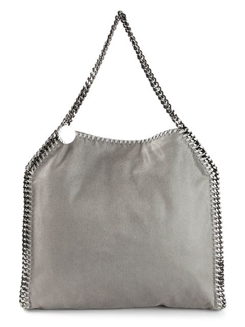 Falabella Tiny Metallic Faux Suede Tote in Grey