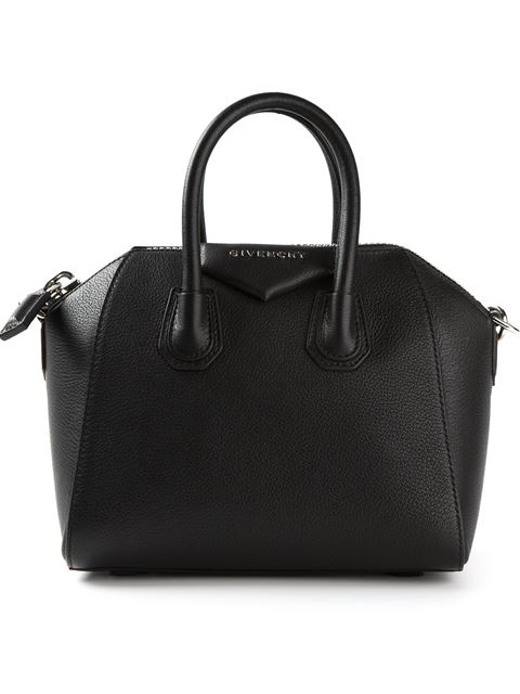 'Mini Antigona' Sugar Leather Satchel - Black