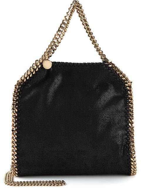 'Small Falabella - Shaggy Deer' Faux Leather Tote - Black, Navy