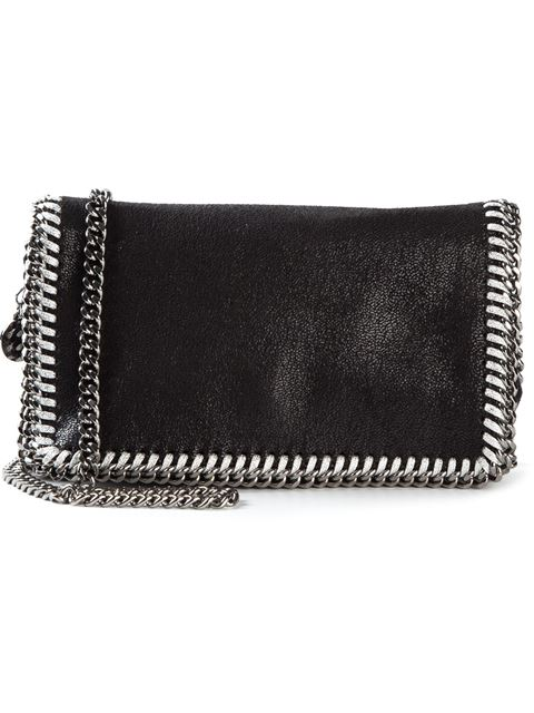 Falabella Large Shaggy Deer Faux Leather Crossbody Bag in Black
