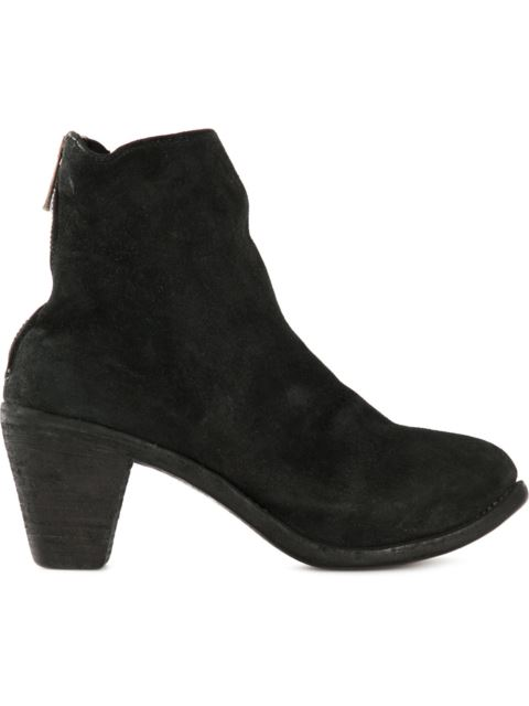 GUIDI Chunky Heel Ankle Boot in Black