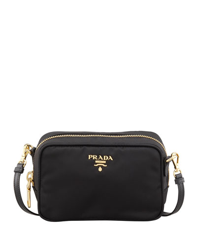 Small Saffiano Camera Crossbody Bag, Black (Nero) in Female