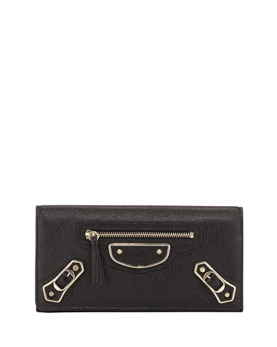 Metallic Edge Textured-Leather Continental Wallet in Black