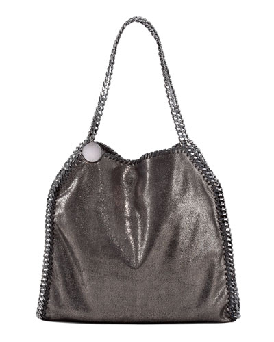 Woman Falabella Metallic Faux Brushed-Leather Shoulder Bag Gunmetal in Black