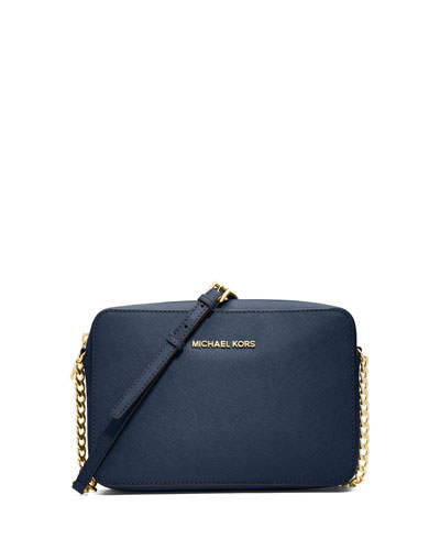 9c3ca58e9fc8 Michael Michael Kors Jet Set Travel Large Saffiano Crossbody Bag, Navy