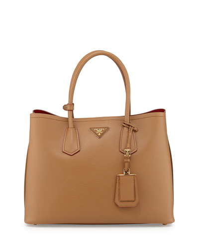 12187a086991 PRADA Saffiano Cuir Double Medium Tote Bag