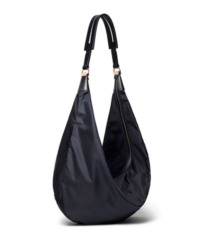 Sling 15 Grained Calfskin Hobo Bag, Navy