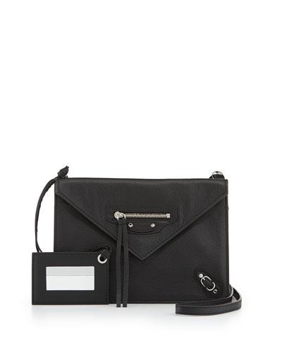 Papier Classic Zip-Around Leather Cross-Body Bag, Black