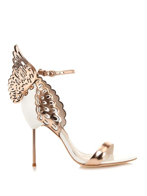 Evangeline Angel Wing Sandals, Rose Gold/White, Metallic Rose-Gold