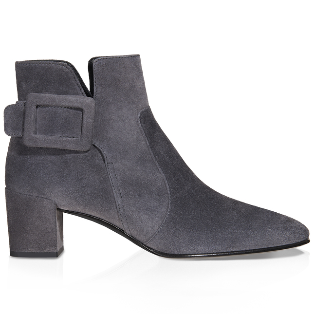 Polly Suede Side-Buckle Ankle Boot, Dark Gray, Grey