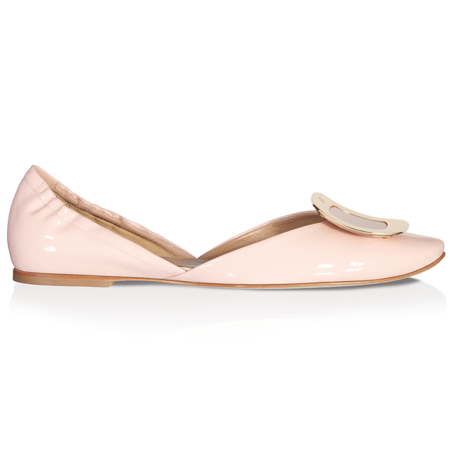 ROGER VIVIER 10Mm Chips Patent Leather D'Orsay Flats, Nude in Pink