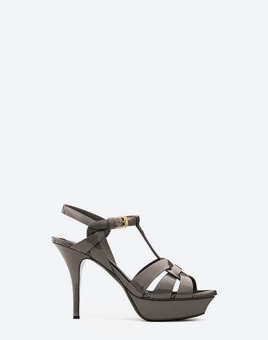Tribute Metallic Cracked-Leather Platform Sandals in Gunmetal