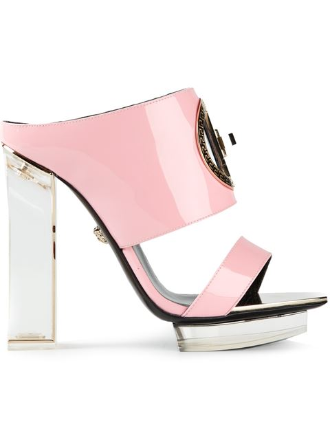VERSACE Patent Leather & Plexiglas Mules in Pink