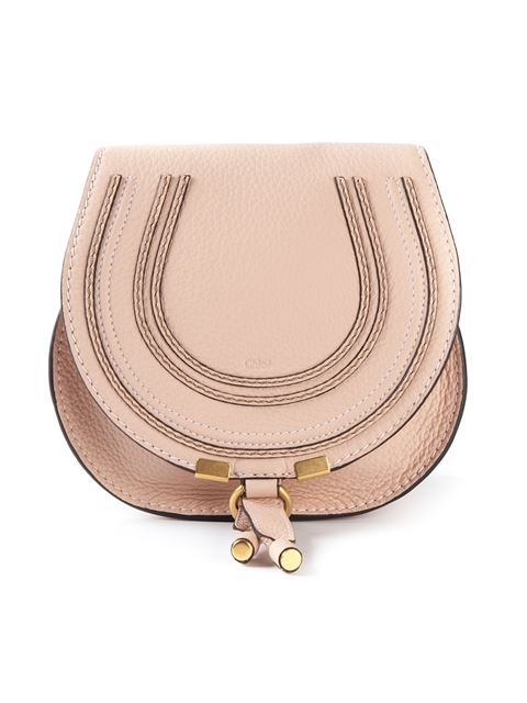 Chloe Small Marcie Grained Calfskin Saddle Bag In Neutrals, Blush Nude