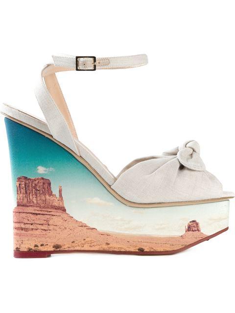 CHARLOTTE OLYMPIA Panoramic Miranda Canvas Wedge Sandals in Crepe%20De%20Chine%2Flinen_901_Canyon%20Print