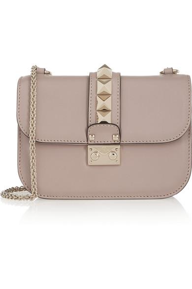 Small Lock Nappa Leather Shoulder Bag, Powder Pink, Blush