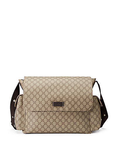 Ssima Faux-Leather Diaper Bag W/ Changing Pad in Beige-Ebony
