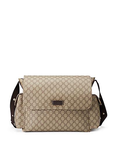 Ssima Faux-Leather Diaper Bag W/ Changing Pad, Beige-Ebony