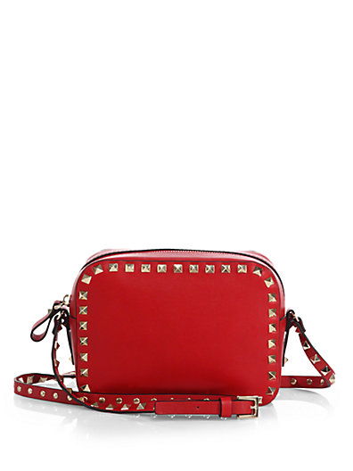 Rockstud Vitello Leather Camera Crossbody Bag, Bright Red