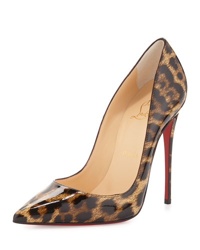 CHRISTIAN LOUBOUTIN So Kate Patent Red Sole Pump, Brown/Leopard