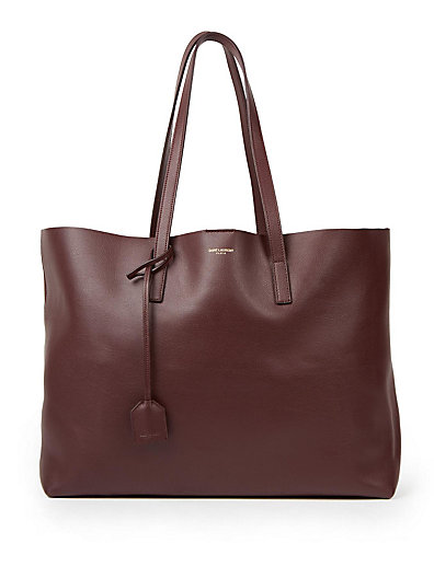SAINT LAURENT Perforated Logo Calfskin Leather Shopper - Brown, Wine