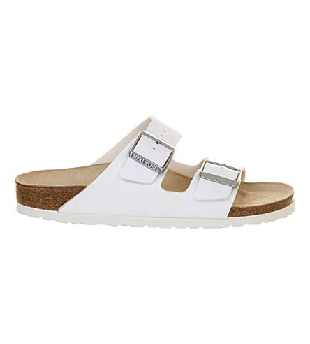 Arizona Narrow Fit Shiny Snake Cream Flat Sandals - Cream, White