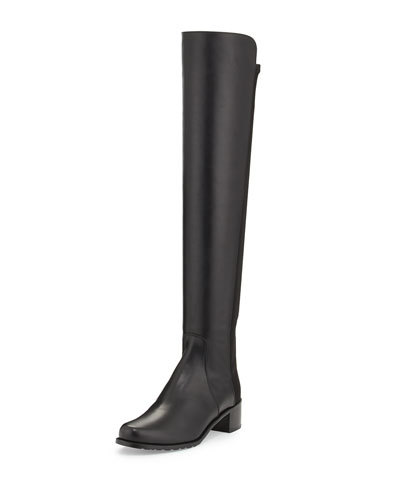 Leather Reserve Over-The-Knee Boots 40, Black Nappa