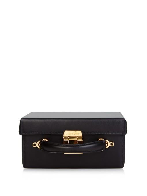 Grace Small Textured-Leather Box Shoulder Bag, Black