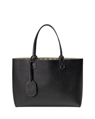 Pre-Owned: Reversible Tote Caleido Gg Print Leather Medium in Black