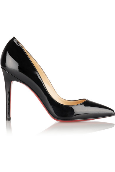 CHRISTIAN LOUBOUTIN Pigalle 100 Patent-Leather Pumps, Black