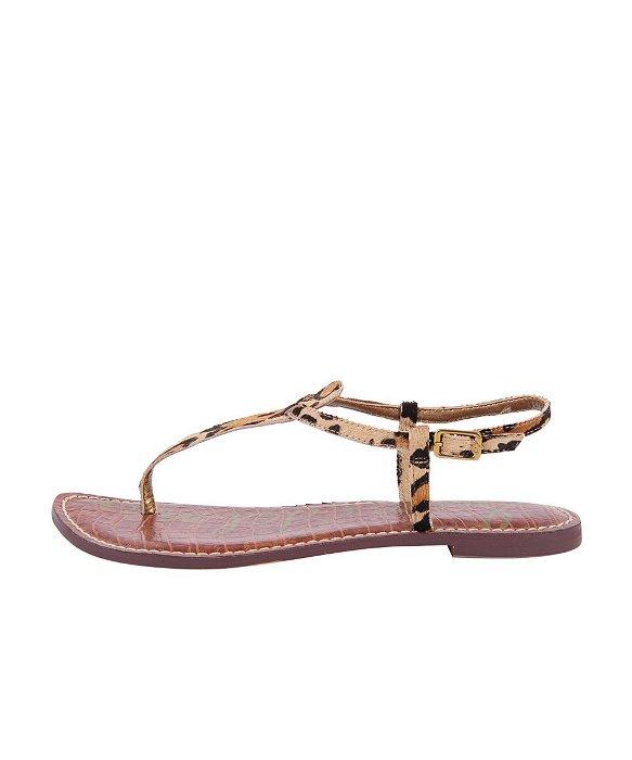 Women'S Gigi Leopard Print Calf Hair Thong Sandals in New Nude Leopard