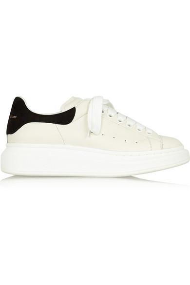 Suede-Trimmed Leather Exaggerated-Sole Sneakers in White