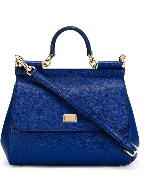 Medium Miss Sicily Crystal Logo Leather Satchel - Black in Blue