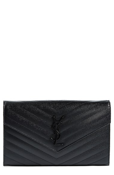 Quilted Textured-leather Wallet - Black Saint Laurent 32vp7