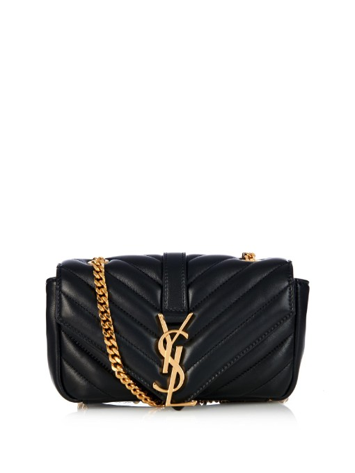 e146fdc16967 SAINT LAURENT V Flap Lambskin Leather Mini Crossbody Chain ...