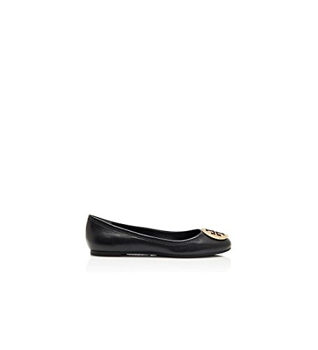 TORY BURCH Reva Leather Ballerina Flat, Black, Nero. SIZE & FIT INFORMATION