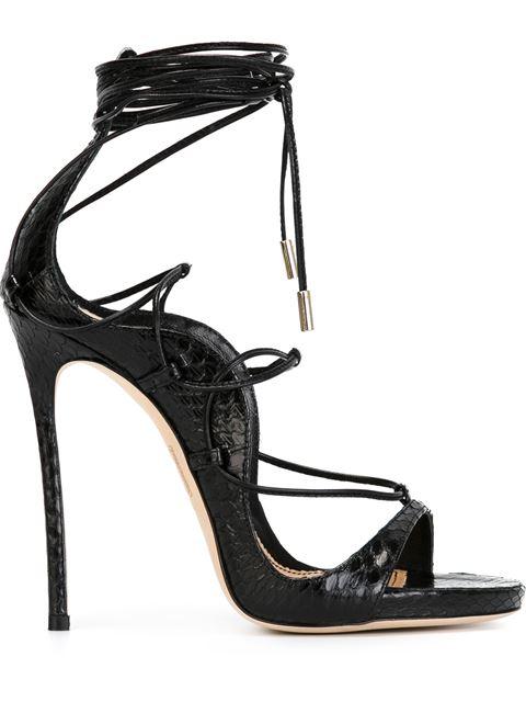 DSQUARED2 120Mm Elaphe Snakeskin Lace-Up Sandals, Black