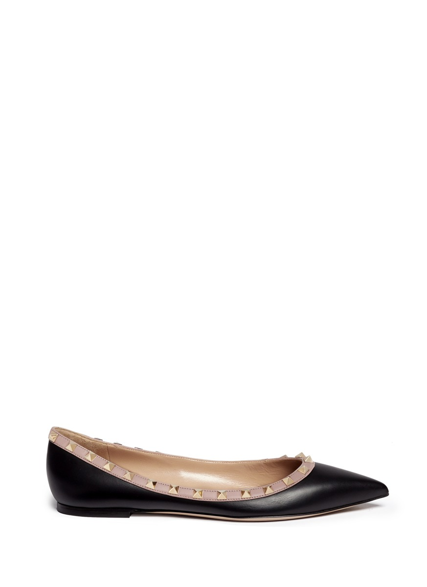 'Rockstud Ballerina' Leather Skimmer Flats in Black
