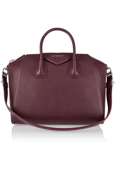 Small Antigona Creased Patent Leather Satchel - Burgundy