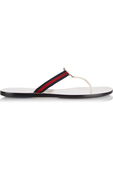 263a2dedfd6 Gucci New Gg Canvas   Leather Signature Thong Sandals In Select Color