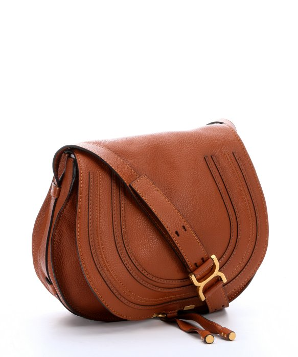 Marcie Small Studded Leather Shoulder Bag, Tan