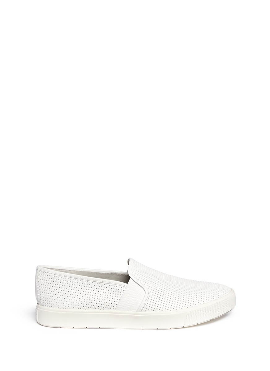 'Pierce' Perforated Leather Skate Slip-Ons in White