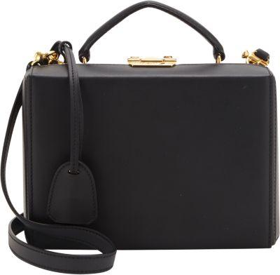 Grace Box Small Leather Crossbody Bag in Black