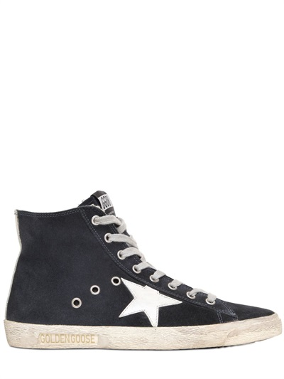 Francy Distressed Suede High-Top Sneakers in Blue