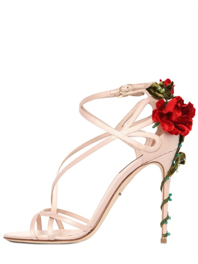 105Mm Keira Roses On Silk Satin Sandals, Blush