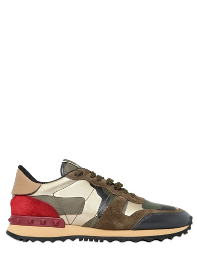 Rockrunner Metallic Suede And Printed Leather Sneakers, Army/Platinum