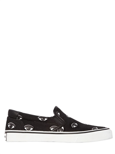 10Mm Eye Cotton Canvas Slip-On Sneakers, Black/White
