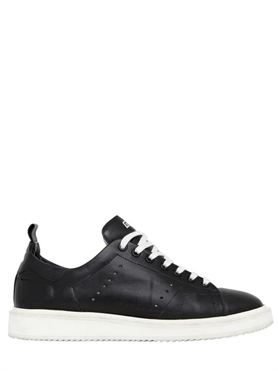 Black Leather Low-Top Starter Sneakers
