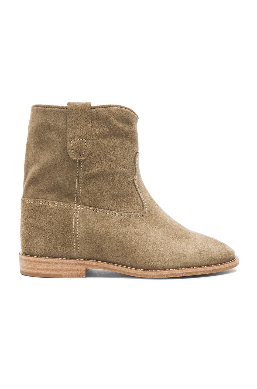 Crisi Calfskin Velvet Leather Boots In Neutrals, Gray. in Grey