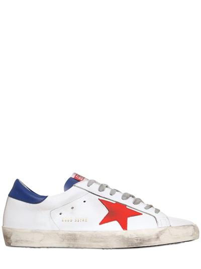 Superstar Oie D'or Chaussures De Sport En Cuir Blanc Et Rouge PGYww26